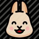 emoji, emotion, expression, face, feeling, happy, rabbit