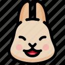 emoji, emotion, expression, face, feeling, laughing, rabbit
