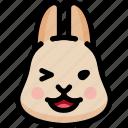 emoji, emotion, expression, face, feeling, laughing, rabbit icon