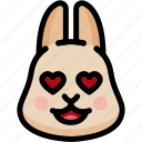 emoji, emotion, expression, face, feeling, love, rabbit