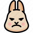 emoji, emotion, expression, face, feeling, mad, rabbit icon