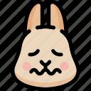 emoji, emotion, expression, face, feeling, nervous, rabbit icon
