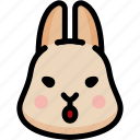 emoji, emotion, expression, face, feeling, open mouth, rabbit icon