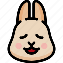 emoji, emotion, expression, face, feeling, rabbit, relax icon