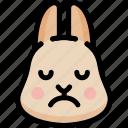 emoji, emotion, expression, face, feeling, rabbit, sad icon