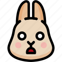 emoji, emotion, expression, face, feeling, rabbit, shocked icon