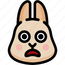emoji, emotion, expression, face, feeling, rabbit, shocked icon