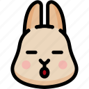 emoji, emotion, expression, face, feeling, rabbit, sleeping icon