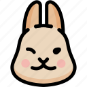 emoji, emotion, expression, face, feeling, rabbit, smile icon
