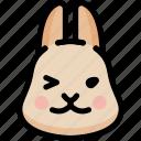emoji, emotion, expression, face, feeling, rabbit, smile