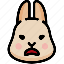 emoji, emotion, expression, face, feeling, rabbit, stunning icon