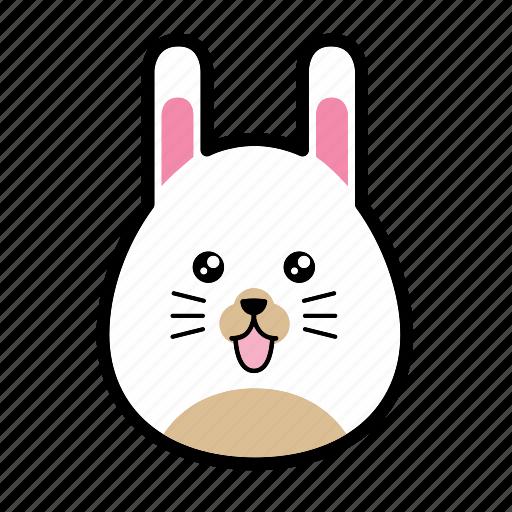 animal, emoticon, emoticons, expression, face, rabbit, smiley icon