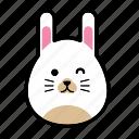 animal, emoticon, emoticons, expression, face, happy, rabbit icon