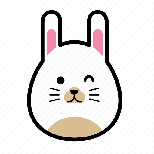 animal, emoticon, emoticons, expression, face, happy, rabbit icon