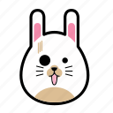 animal, emoticon, expression, face, horror, rabbit, smiley icon