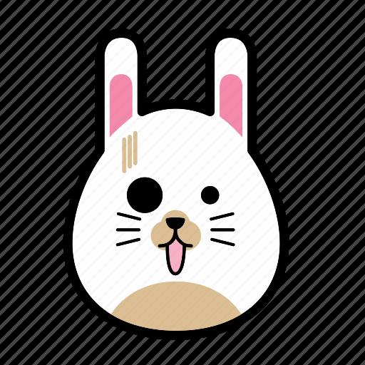 animal, emoticon, expression, face, horror, rabbit, smiley icon