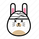 animal, emoticon, emoticons, expression, face, rabbit, sick icon
