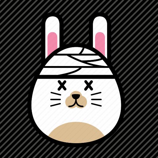 animal, emoticon, emoticons, expression, face, rabbit, sick icon
