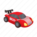 auto, car, cartoon, race, red, vehicle, wheel icon