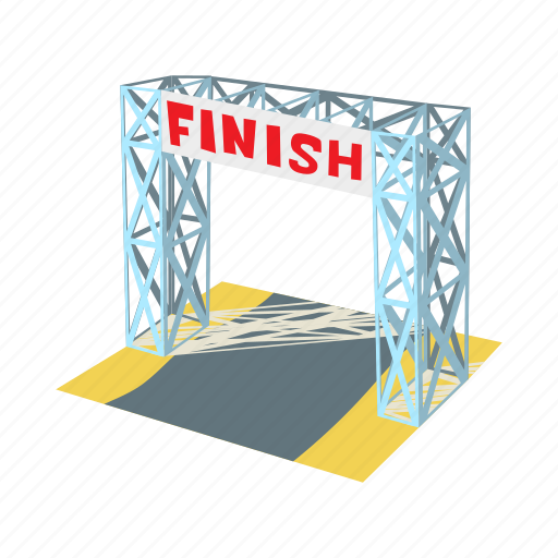 cartoon, competition, finish, gates, line, race, racing icon