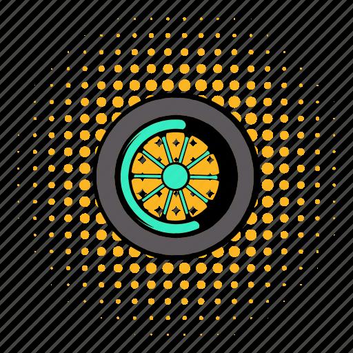 car, comics, design, rubber, tire, transport, wheel icon