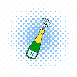 alcohol, bottle, champagne, comics, explosion, new, win icon