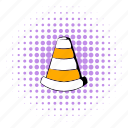 barrier, comics, cone, obstacle, orange, road, traffic icon