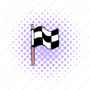 checkered, comics, finish, finishing, flag, race, winner icon
