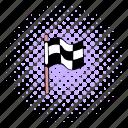 checkered, comics, finish, finishing, flag, race, winner