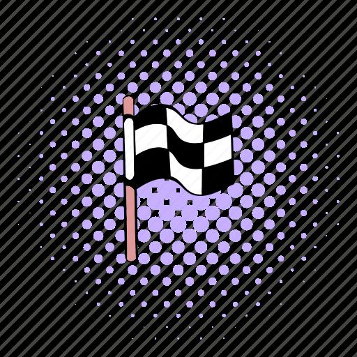 checkered, comics, finish, finishing, flag, race, winner icon
