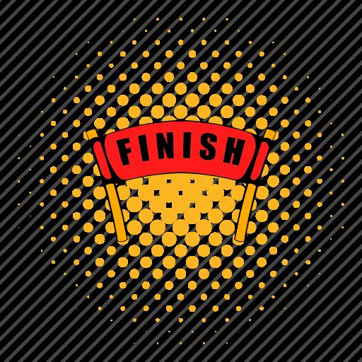 comics, finish, finishing, line, race, ribbon, success icon