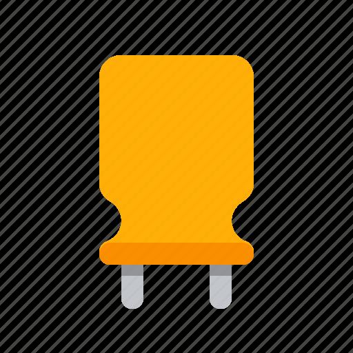 capacitor, component, condenser, detail, orange, radio, vertical icon
