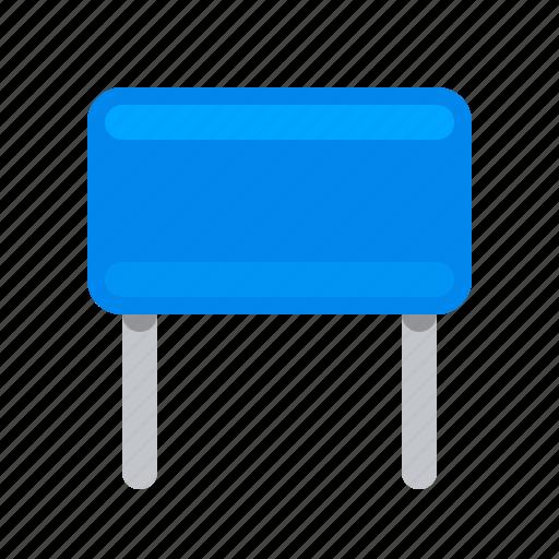 blue, capacitor, component, condenser, detail, radio icon