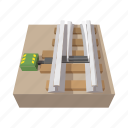 cartoon, rail, railroad, railway, steel, swith, track icon