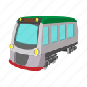 cartoon, locomotive, rail, track, train, transport, transportation icon