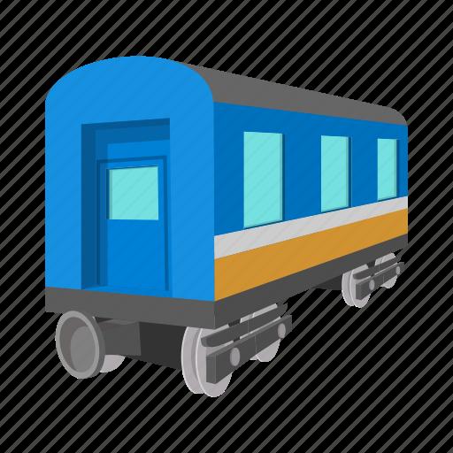 cartoon, railway, track, train, transport, transportation, wagon icon