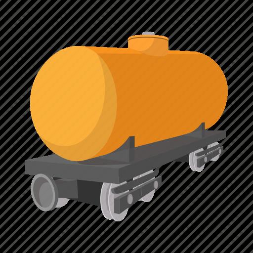 cargo, cartoon, petroleum, rail, train, transport, transportation icon