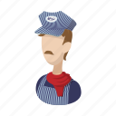cartoon, conductor, man, person, railroad, train, transportation icon