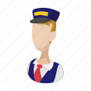 cartoon, driver, man, train, transportation, travel, uniform icon