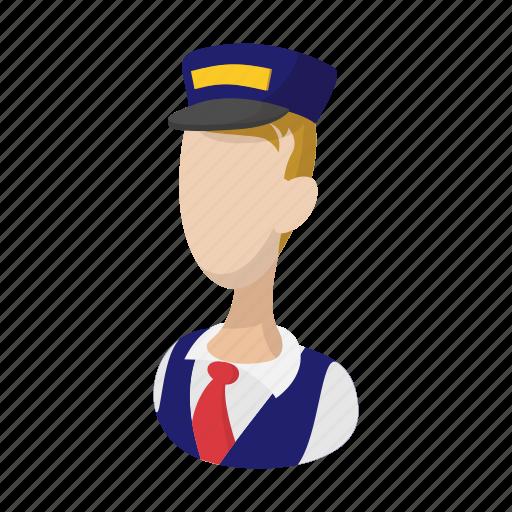 cartoon, driver, man, train, transportation, travel, uniform icon