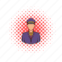 cartoon, comics, man, railroader, station, uniform, worker icon