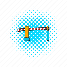 barrier, comics, design, protection, railway, safety, security icon