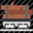 firewood, freight wagon, railway, train, transportation, wagon icon
