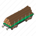 isometric, object, train, transport, transportation, wagon, wood