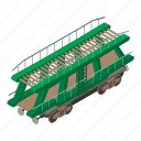 car, isometric, object, train, transport, transportation, wagon
