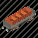 coal, isometric, object, train, transport, transportation, wagon