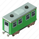 isometric, object, passenger, train, transport, transportation, wagon