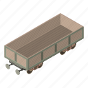 industry, isometric, object, train, transport, transportation, wagon