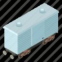 isometric, logistic, object, train, transport, transportation, wagon