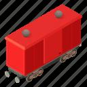 isometric, modern, object, train, transport, transportation, wagon